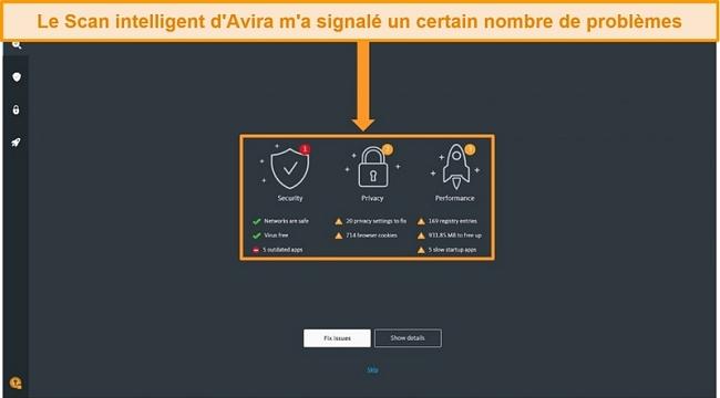 Capture d'écran de la page de résultats d'Avira Antivirus Smart Scan.