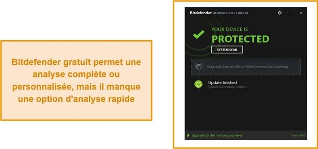 Capture d'écran du tableau de bord antivirus gratuit de Bitdefender.