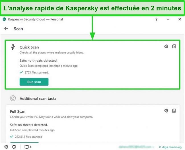 Capture d'écran de l'écran de résultat de l'analyse rapide de l'application de bureau Kaspersky Antivirus.