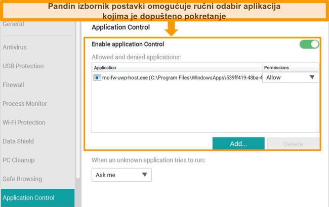 Snimka zaslona Pandinog izbornika za konfiguraciju upravljanja aplikacijama.