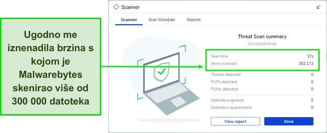 Snimka zaslona rezultata skeniranja prijetnji od malwarebytesa.