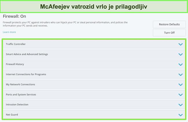 Snimka zaslona McAfeejevog vatrozida.