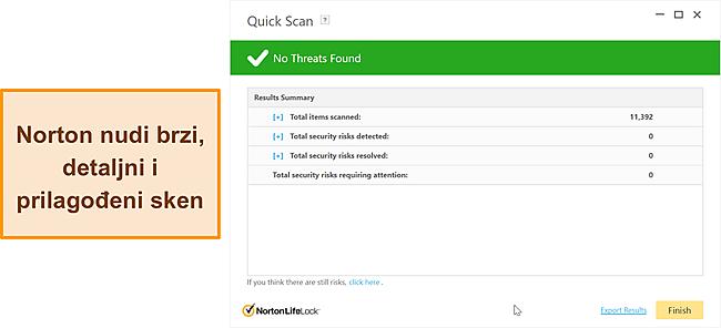 Nortonove mogućnosti skeniranja protiv zlonamjernog softvera.