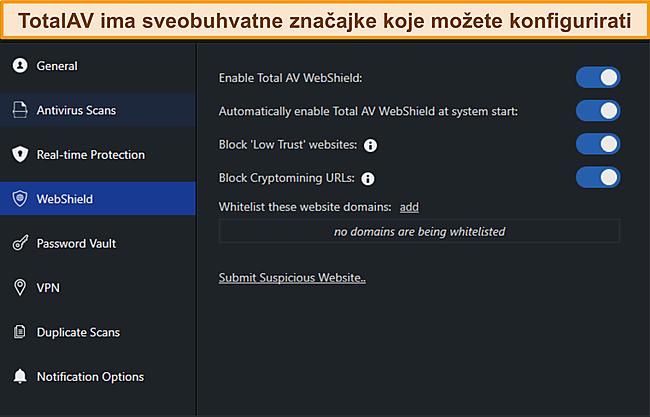 Snimka zaslona izbornika postavki TotalAvs.
