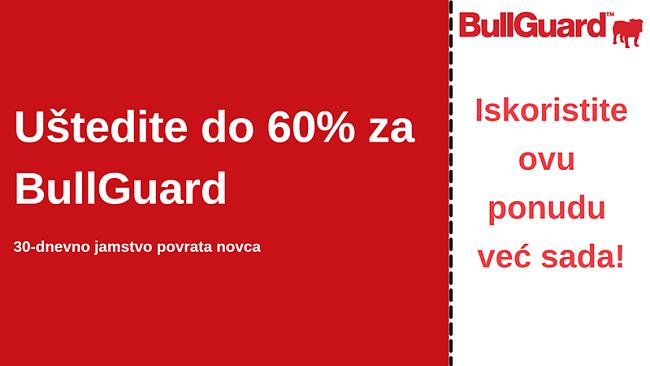 Kupon antivirusnog kupona BullGuard s popustom od 60% i povratom novca u roku od 30 dana