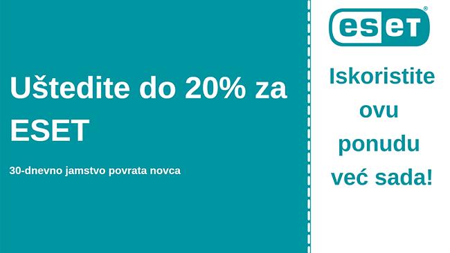 ESET antivirusni kupon s 20% popusta i 30-dnevnim jamstvom povrata novca