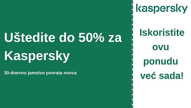 Kaspersky antivirusni kupon s popustom od 50% i povratom novca u roku od 30 dana