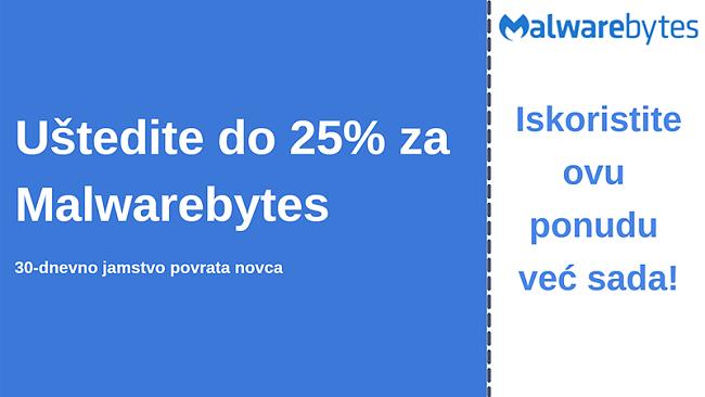 Malwarebytes antivirusni kupon s popustom od 25% i povratom novca u roku od 30 dana