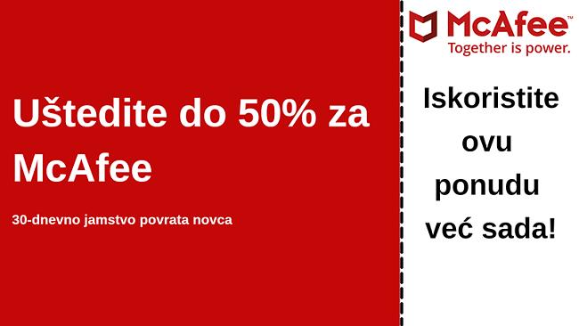 McAfee kupon za antivirusni program do 50% popusta uz 30-dnevno jamstvo povrata novca