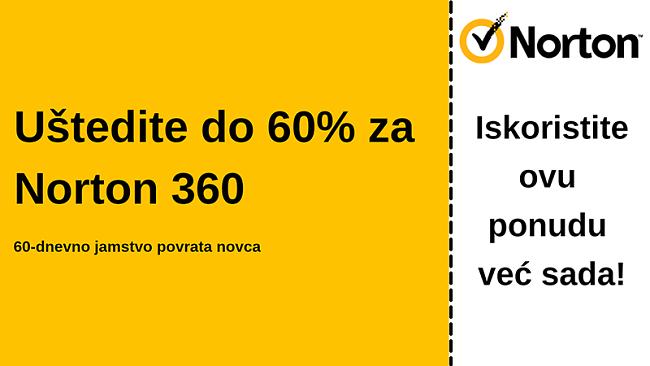 Norton 360 antivirusni kupon za 60% popusta uz 60-dnevno jamstvo povrata novca