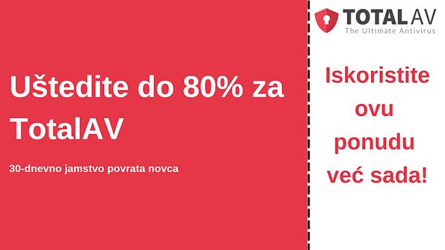 TotalAV antivirusni kupon s popustom do 80% i povratom novca u roku od 30 dana