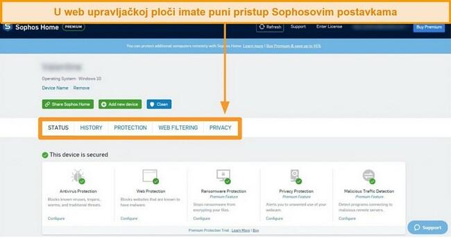 Snimka zaslona Sophosove nadzorne ploče zasnovane na webu
