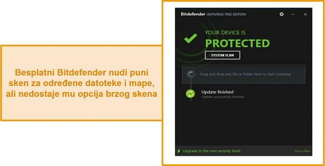 Snimak zaslona nadzorne ploče antivirusnog programa bez Bitdefendera.