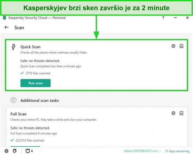Snimka zaslona zaslona brzih rezultata skeniranja aplikacije Kaspersky Antivirus za stolno računalo.