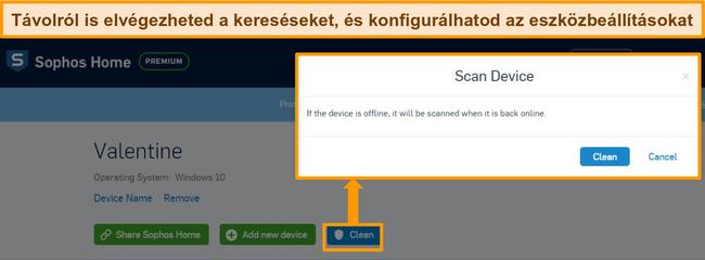 A Sophos víruskereső műszerfalának képernyőképe kiemelve a távoli keresést