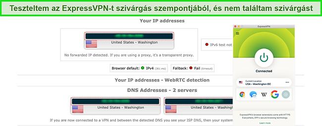 Képernyőkép: az ExpressVPN sikeresen átment egy IP-, WebRTC- és DNS-szivárgási teszten, miközben egy amerikai kiszolgálóhoz csatlakozik