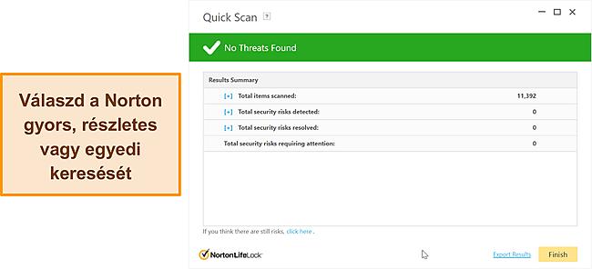 A Norton anti-malware vizsgálati lehetőségei.