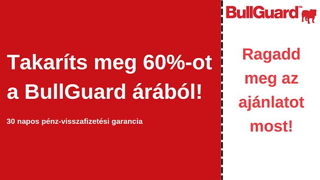 BullGuard antivírus kupon 60% kedvezménnyel és 30 napos pénz-visszafizetési garanciával