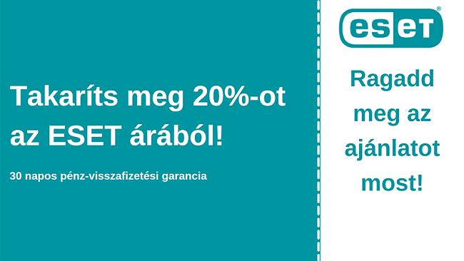 ESET víruskereső kupon 20% kedvezménnyel és 30 napos pénz-visszafizetési garanciával