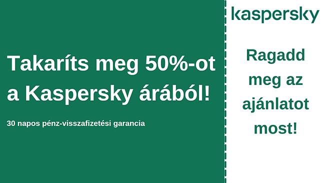 Kaspersky antivírus kupon 50% kedvezménnyel és 30 napos pénz-visszafizetési garanciával