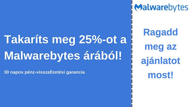 Malwarebytes antivírus kupon 25% kedvezménnyel és 30 napos pénz-visszafizetési garanciával