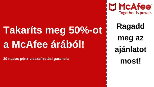 A McAfee antivírus kupon akár 50% kedvezménnyel, 30 napos pénz-visszafizetési garanciával