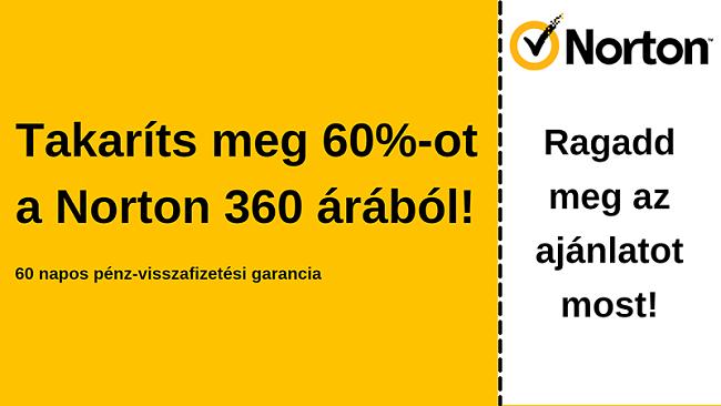 Norton 360 víruskereső kupon 60% kedvezménnyel, 60 napos pénz-visszafizetési garanciával