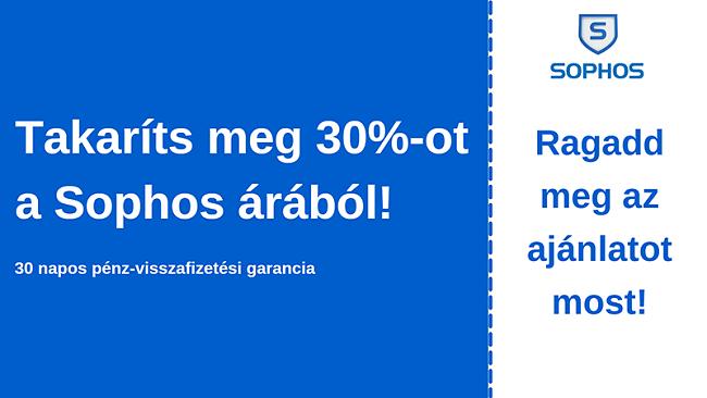 Sophos antivírus kupon 30% kedvezménnyel és 30 napos pénz-visszafizetési garanciával