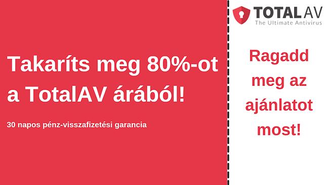 TotalAV antivírus kupon akár 80% kedvezménnyel és 30 napos pénz-visszafizetési garanciával