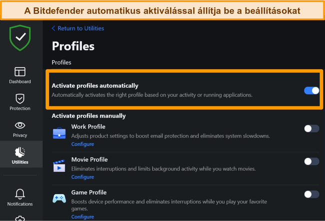 Pillanatkép a Bitdefender Profiles beállításáról, kiemelve az automatikus aktiválást.
