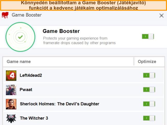Pillanatkép a BullGuard Game Booster konfigurációs lehetőségeiről.