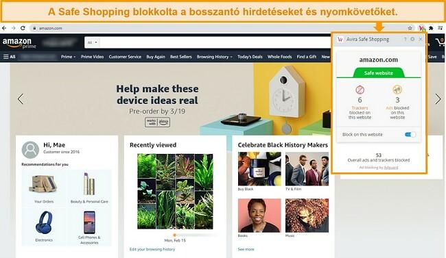 Pillanatkép az Avira Safe Shopping böngészőbővítményéről a Google Chrome-on.