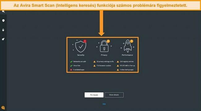 Pillanatkép az Avira Antivirus Smart Scan eredményoldaláról.