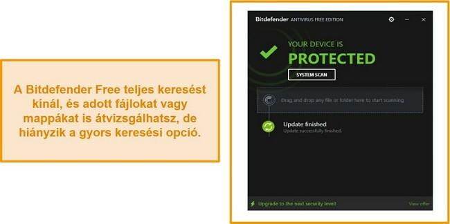 A Bitdefender ingyenes víruskereső műszerfalának képernyőképe.