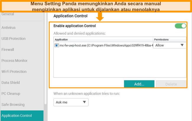 Tangkapan layar dari menu konfigurasi Kontrol Aplikasi Panda.