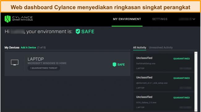 Tangkapan layar dari dasbor berbasis web Cylance yang menampilkan tingkat keamanan perangkat yang terhubung saat ini dan ancaman mana yang telah terdeteksi.