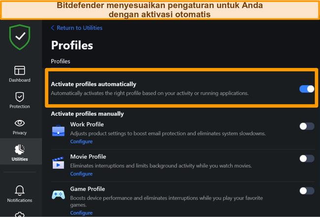 Tangkapan layar dari pengaturan Profil Bitdefender dengan aktivasi otomatis disorot.