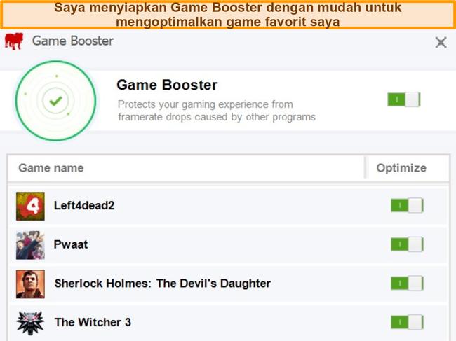 Tangkapan layar opsi konfigurasi Game Booster BullGuard.