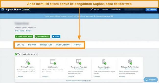 Tangkapan layar dari Dasbor berbasis web Sophos