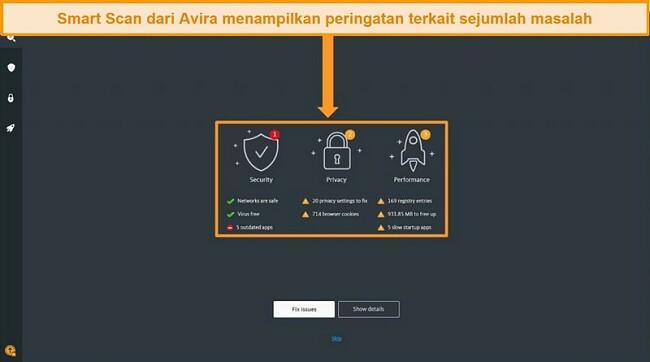Tangkapan layar dari halaman hasil Avira Antivirus Smart Scan.