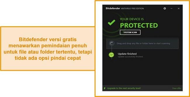 Tangkapan layar dari dasbor antivirus gratis Bitdefender.