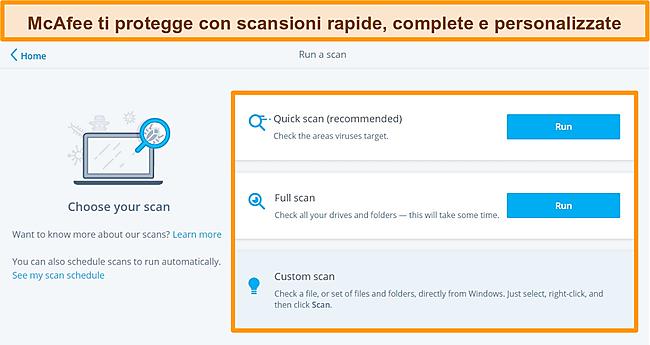 Screenshot dell'app antivirus McAfee con opzioni di scansione rapida, completa e personalizzata.