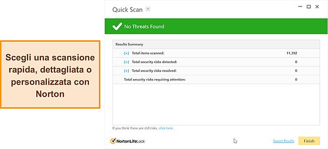 Opzioni di scansione anti-malware di Norton.