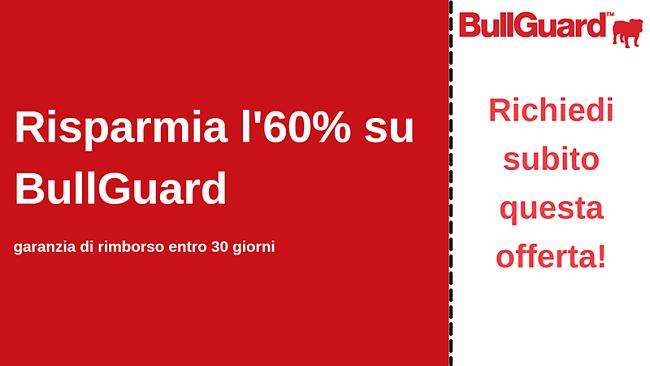 Coupon antivirus BullGuard con sconto del 60% e garanzia di rimborso di 30 giorni