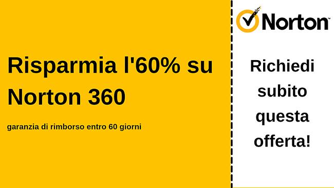 Coupon antivirus Norton 360 per il 60% di sconto con una garanzia di rimborso di 60 giorni