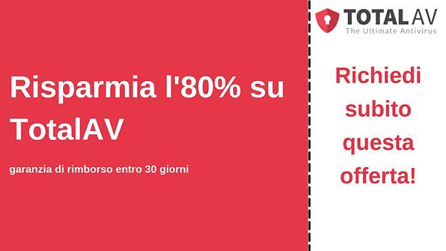 Coupon antivirus TotalAV con uno sconto fino all'80% e garanzia di rimborso di 30 giorni