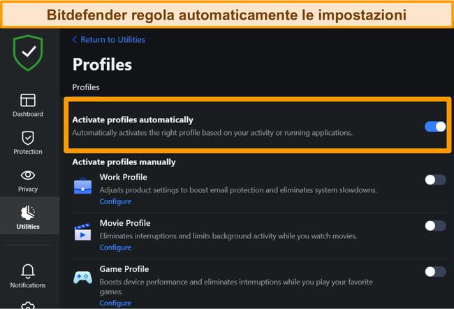 Screenshot dell'impostazione Profili di Bitdefender con attivazione automatica evidenziata.