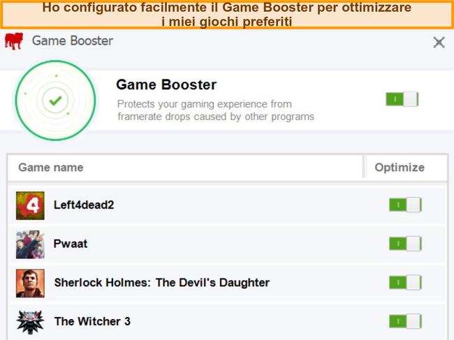 Schermata delle opzioni di configurazione di Game Booster di BullGuard.
