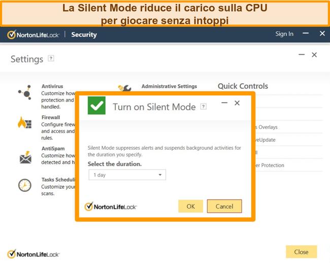 Screenshot della modalità silenziosa di Norton attivata.