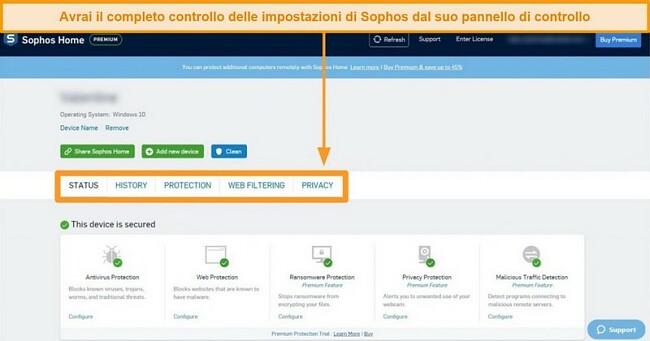 Screenshot del dashboard basato sul web di Sophos